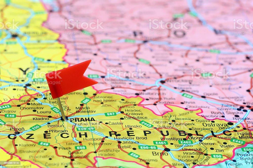 Prag Karte Europa.Prag Steckern Auf Einer Karte Von Europa Stockfoto Und Mehr Bilder
