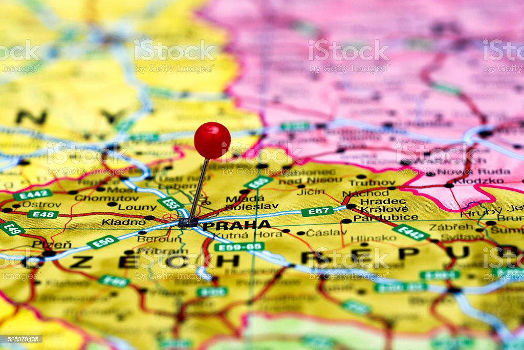 Prague Pinned On A Map Of Europe Stock Photo More Pictures Of