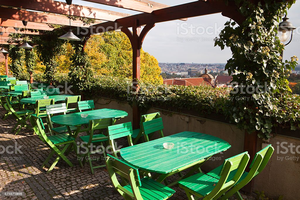 Prague Restaurant And Tables royalty-free stock photo