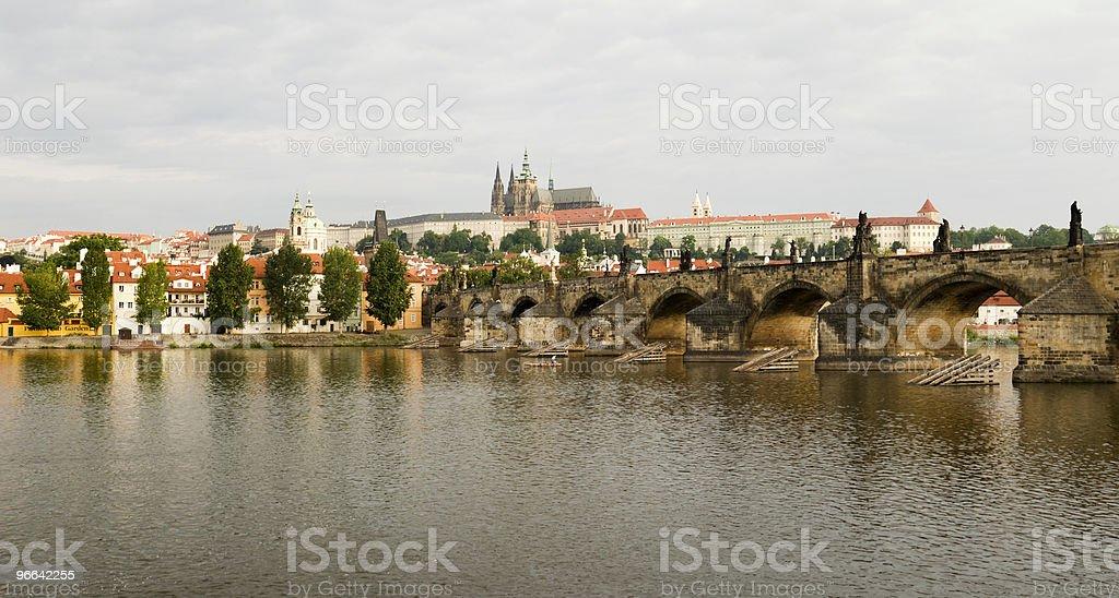 Prague River and City Panorama royalty-free stock photo