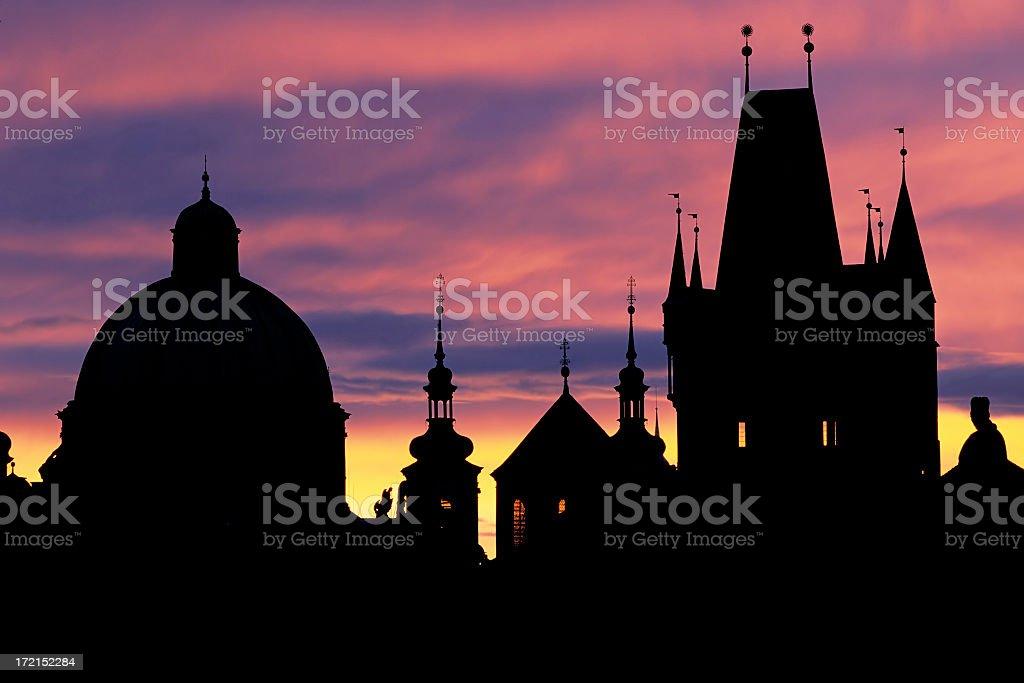 Prague skyline at dawn royalty-free stock photo