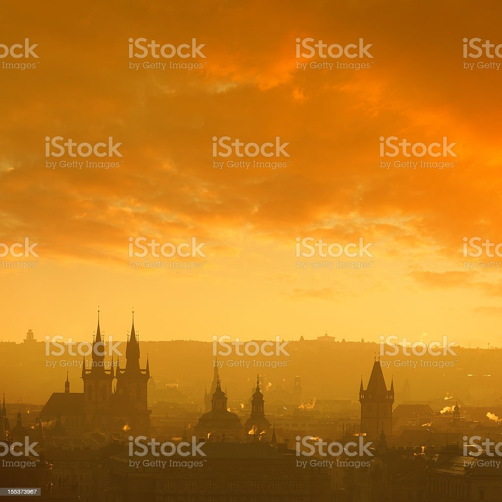 Prague skyline with temple tower royalty-free stock photo