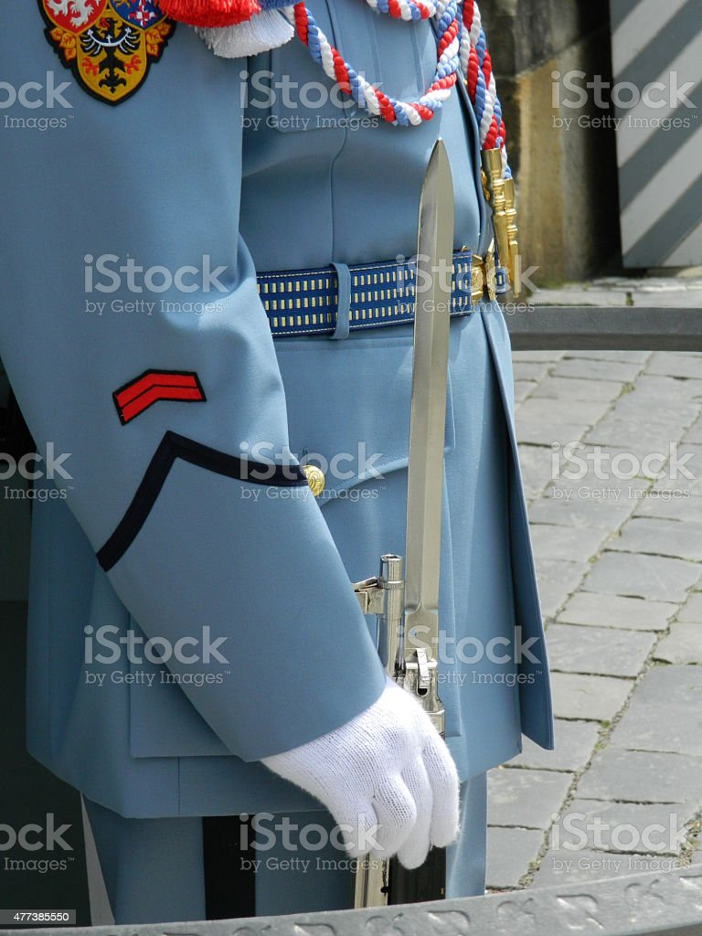 Prague soldier, castle guard,  uniform and bayonet stock photo