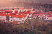 istock Prague Strahov monastery panorama from above at gold sunset – Czech Republic 1272002833