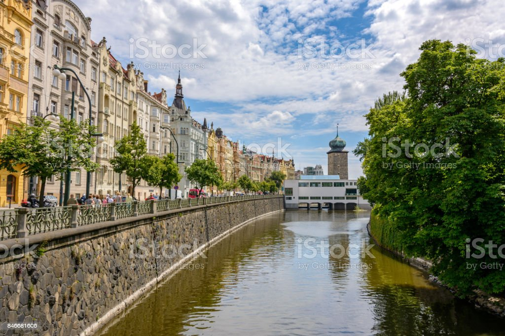 Prague Street along the Vltava River, Czech Republic stock photo