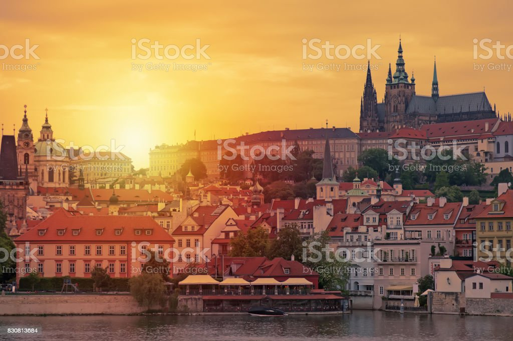 Prague, sunset view of Saint Vitus cathedral in Czech Republic. stock photo