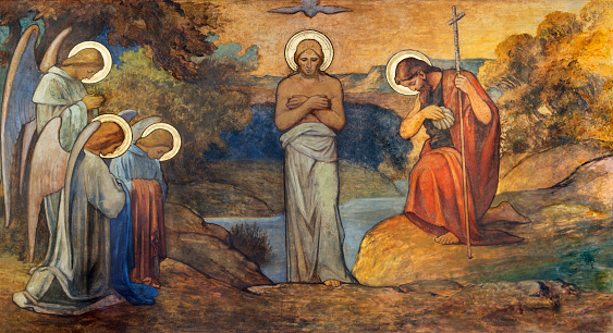 Prague The Fresco Of Baptism Of Jesus In Church Kostel Svatého Václava By S  G Rudl Stock Photo - Download Image Now - iStock
