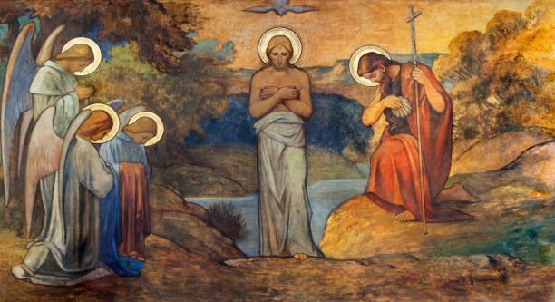 prague - the fresco of baptism of jesus in church kostel svatého václava by s. g. rudl (end of 19. cent.). - крещение стоковые фото и изображения