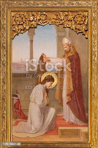 Prague - The painting St. Clara before bishop in church Bazilika svatého Petra a Pavla na Vyšehrade by S. G. Rudl (1895).