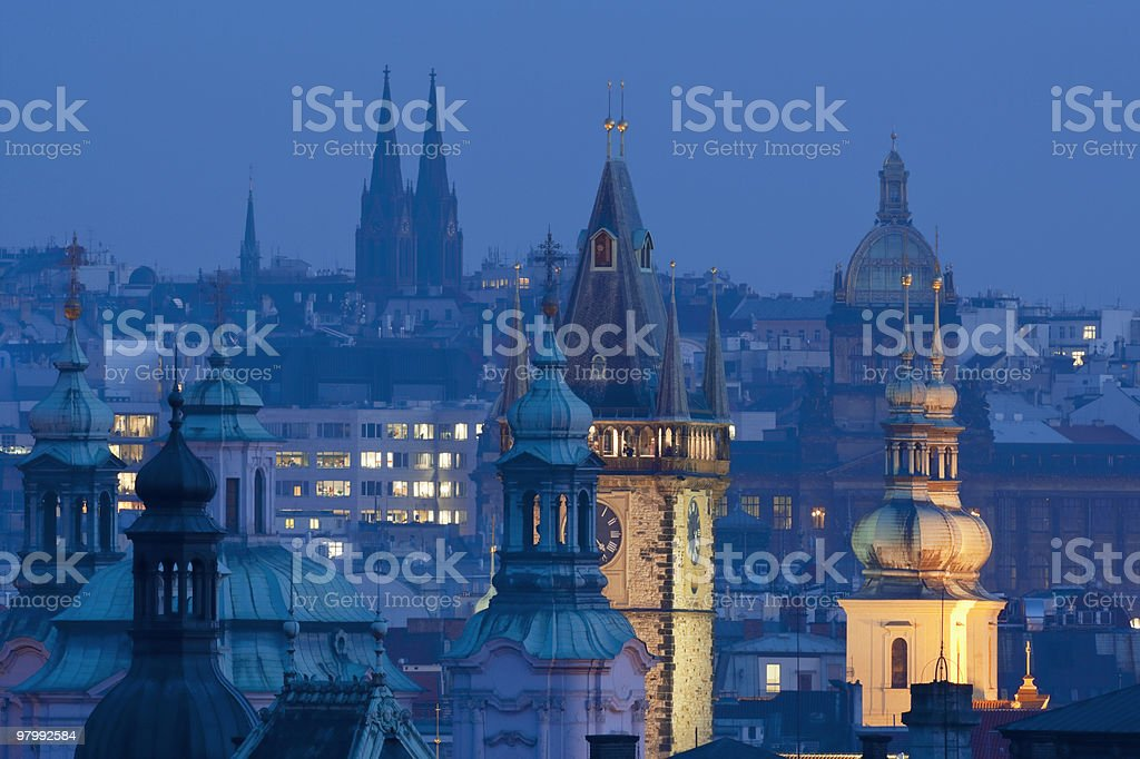 prague towers at dusk royalty-free stock photo
