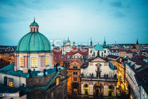 Cityscape of Prague with Old Town (Stare mesto) and its numerous towers: Church of St. Francis of Assisi, Clementinum, St. Savior, Astronomical clock tower etc.