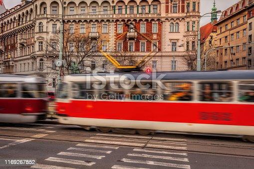 Tram in motion in Prague