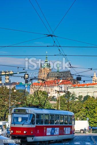Prague, Czech Republic - 5 September 2019: Prague tram power lines