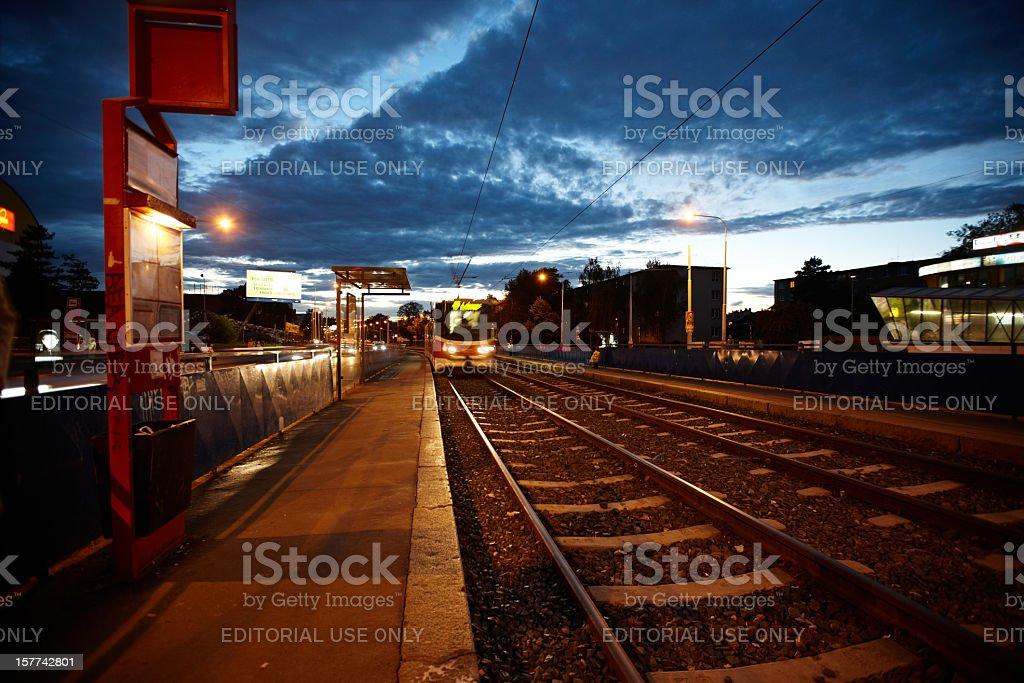 Prague tram stop at sunset royalty-free stock photo
