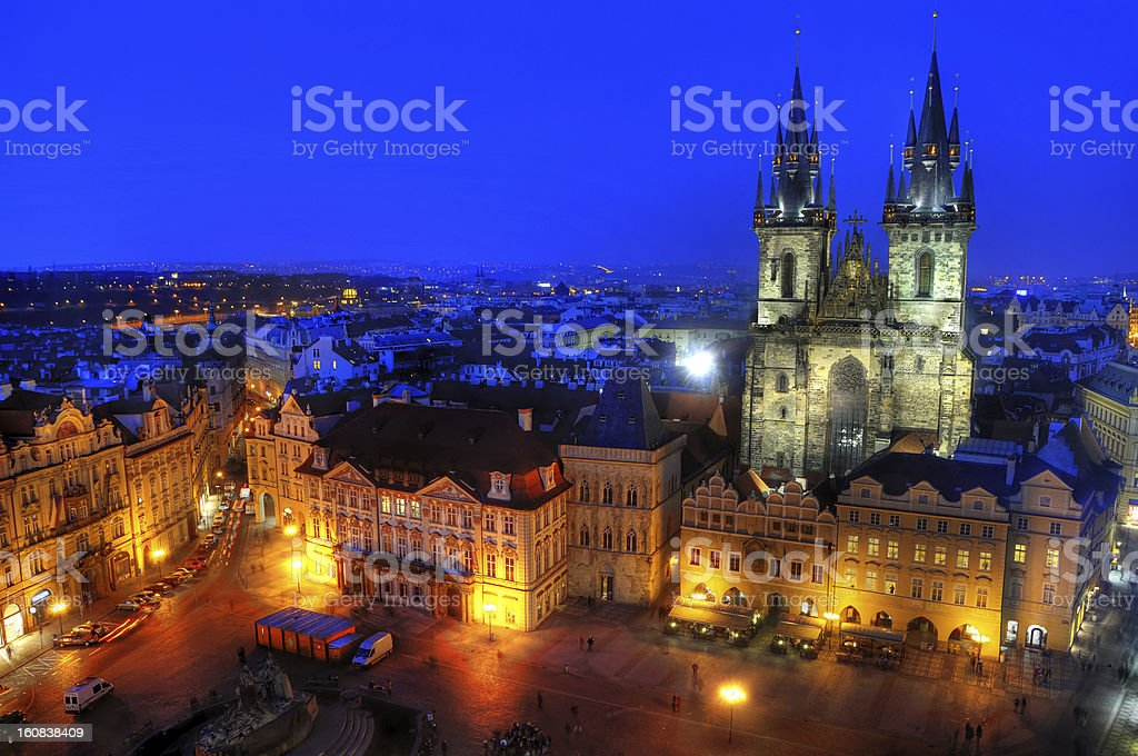 Prague Twilight View of Old Town Square royalty-free stock photo