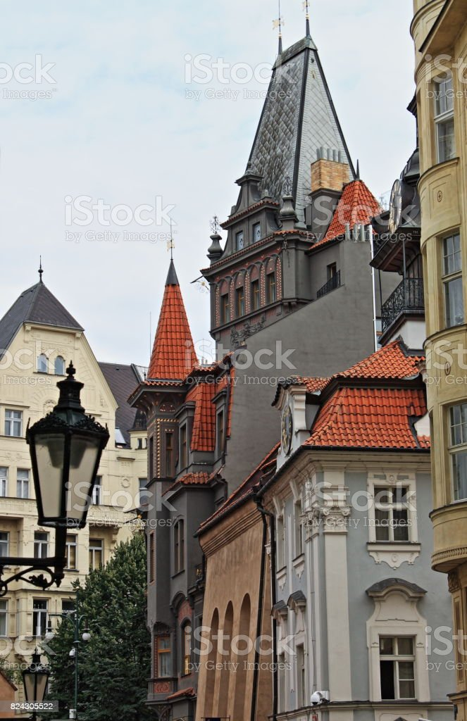 Prague urban scenic with the Powder Tower stock photo