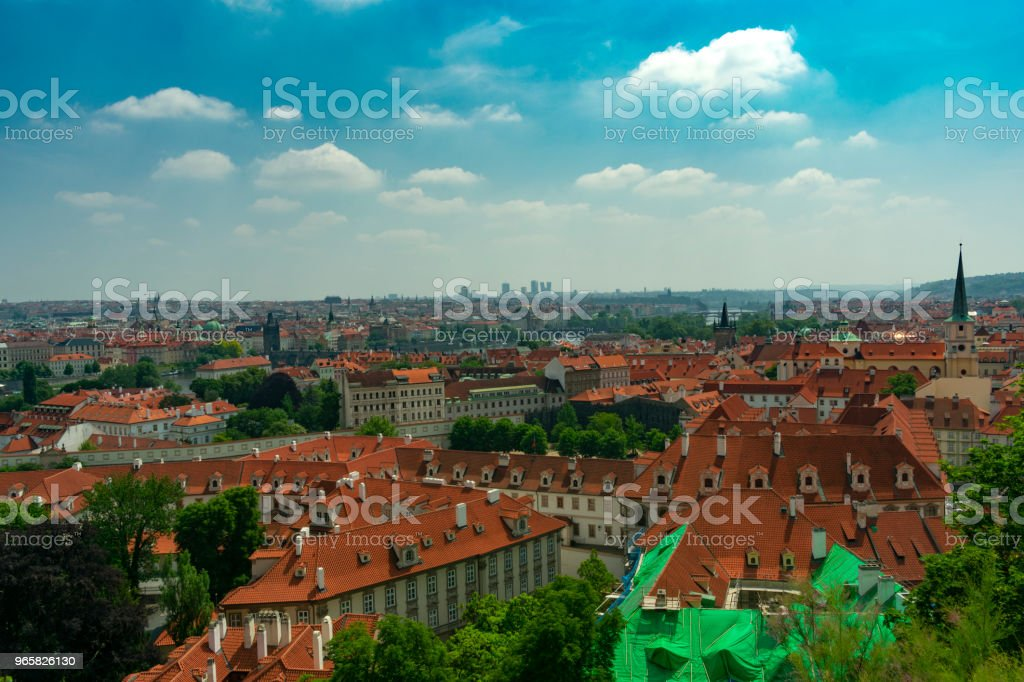 Prague, view of the old town with stone houses and brown tiled roofs - Royalty-free Architecture Stock Photo