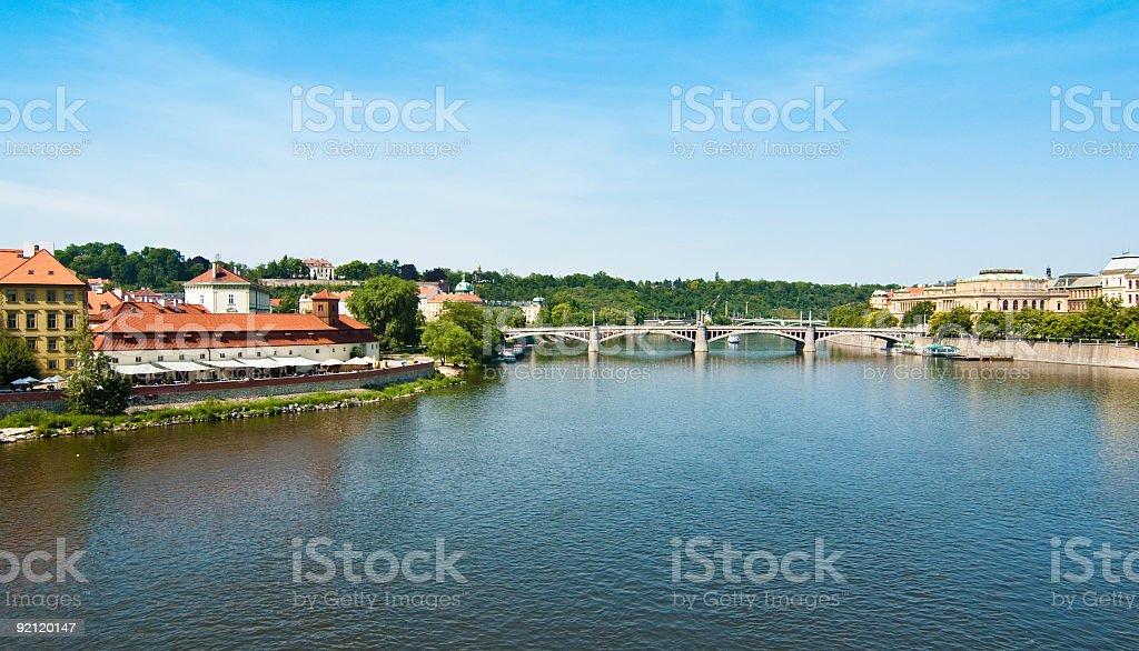 Prague: view over Moldava stock photo