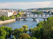 istock prague, view over vltava and charles bridge 695049190