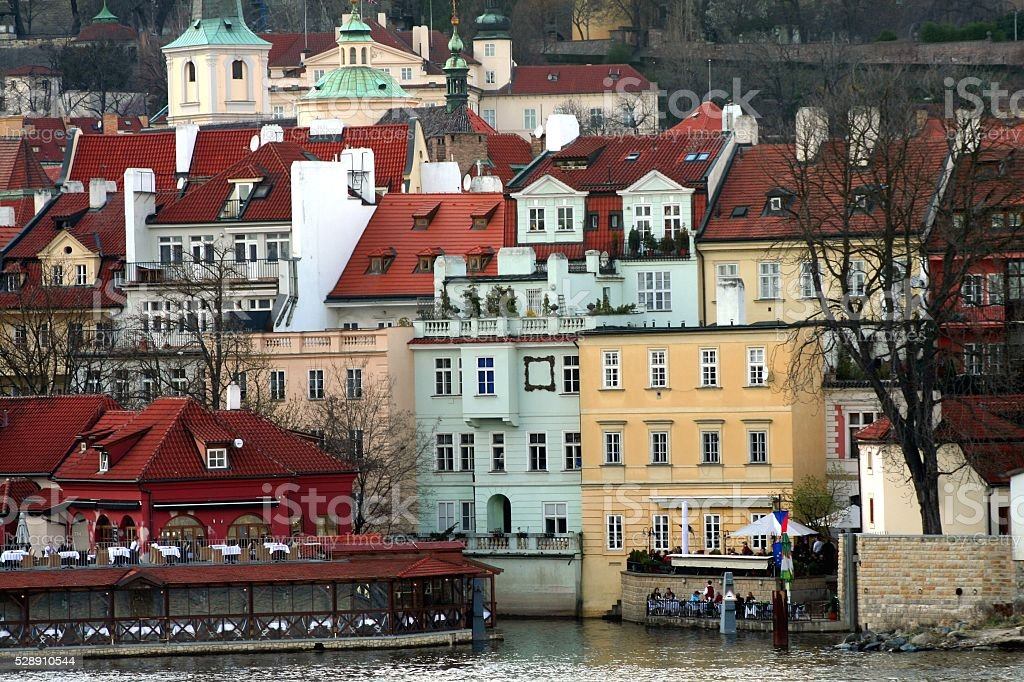 Prague Vitava riverbank Restaurants stock photo