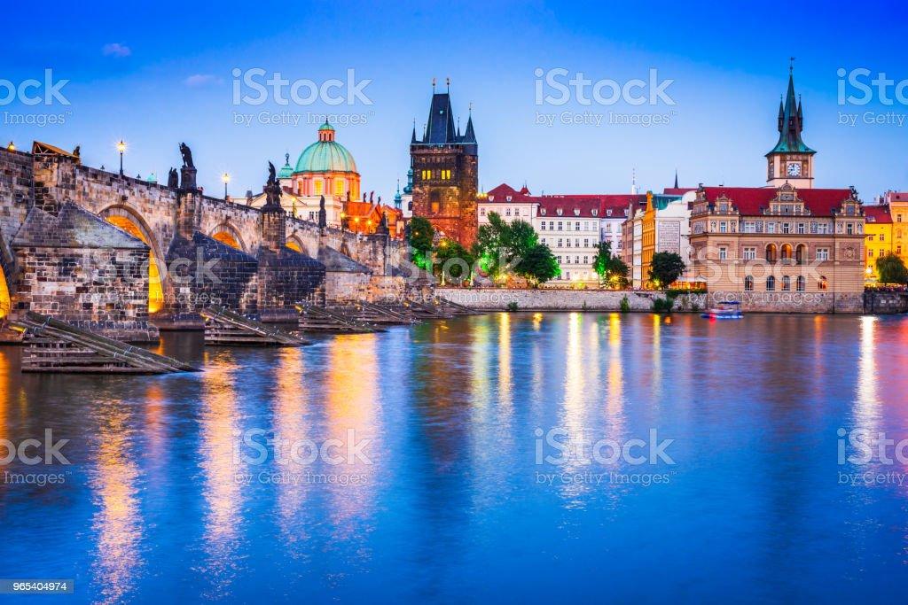 Prague with Charles Bridge and Stare Mesto oldtown, Czech Republic zbiór zdjęć royalty-free
