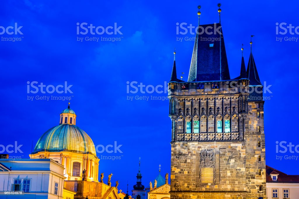 Prague with Charles Bridge and Stare Mesto oldtown, Czech Republic royalty-free stock photo
