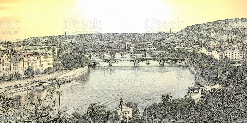Prag mit Moldau - Lizenzfrei Architektur Stock-Foto