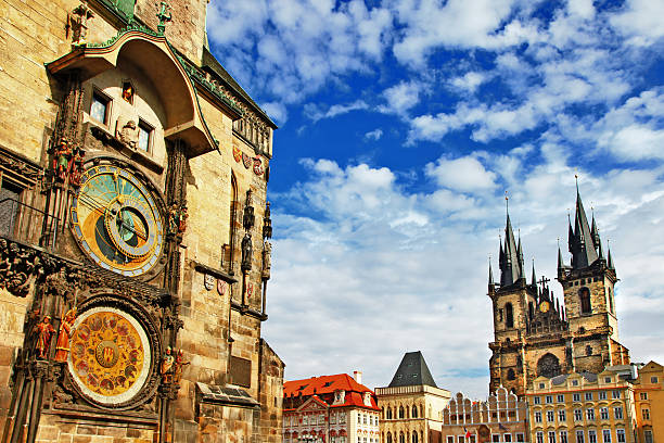 Prague,Czech Republic View of square and astronomical clock prague stock pictures, royalty-free photos & images