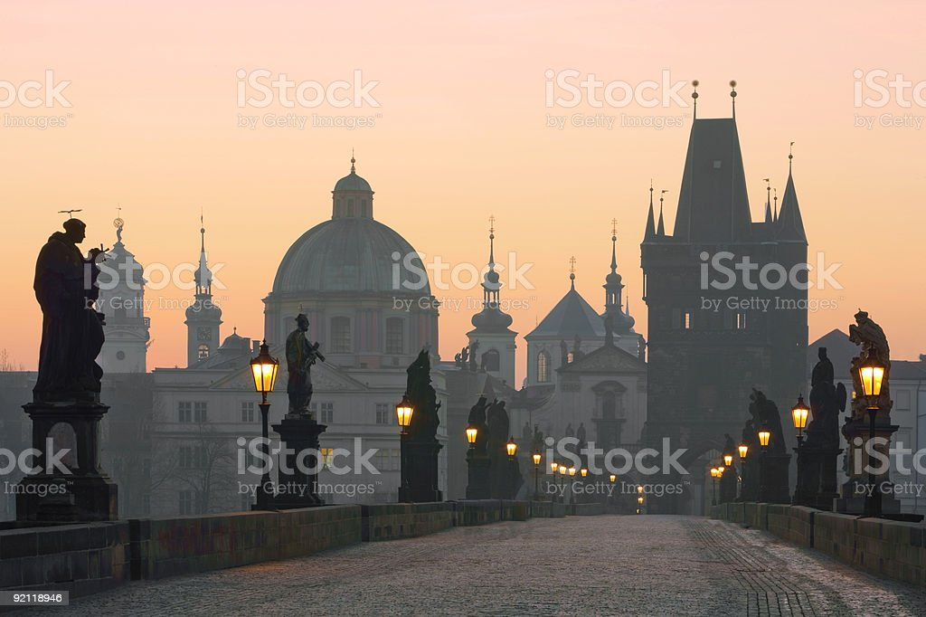 Prague's Charles Bridge at sunset royalty-free stock photo