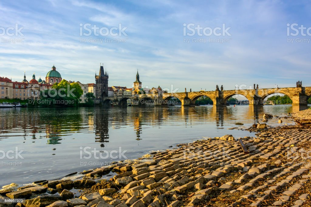 Prague's main attractions at dawn: Charles Bridge, Lesser Town Bridge Towers. Czech Republic, Bohemia stock photo