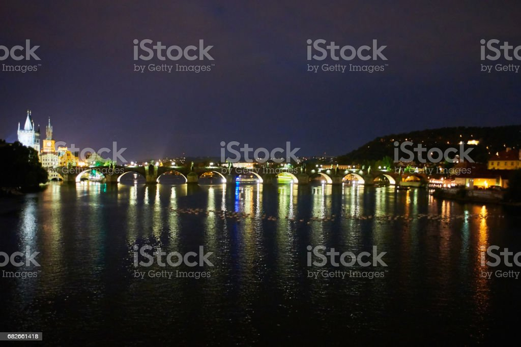Praha panorama, Scenic summer evening view of the Old Town ancient architecture and Vltava river pier in Prague, Czech Republic stock photo