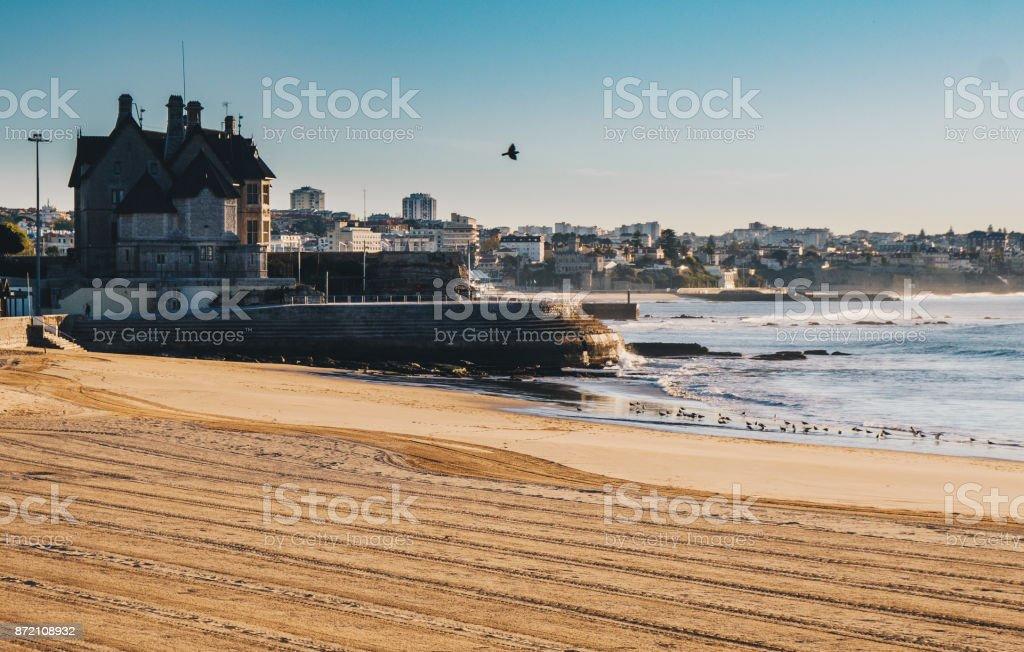 Praia da Duquesa beach in Cascais Portugal in the morning stock photo