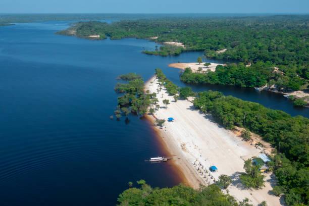 Praia da Lua in Manaus Beach in the Amazon At the border of Negro River rio negro brazil stock pictures, royalty-free photos & images