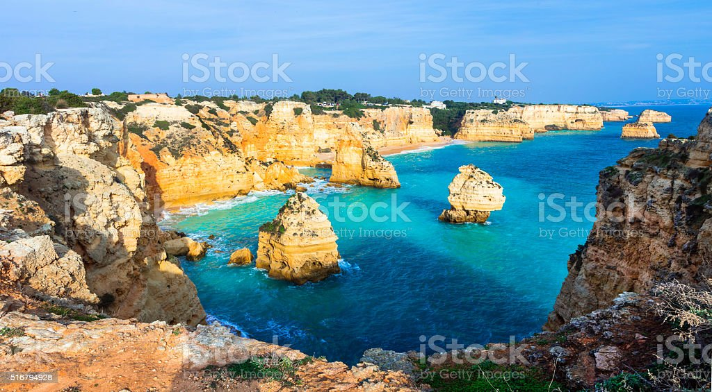 Praia da Marinha, beach with rocks, Portugal stock photo