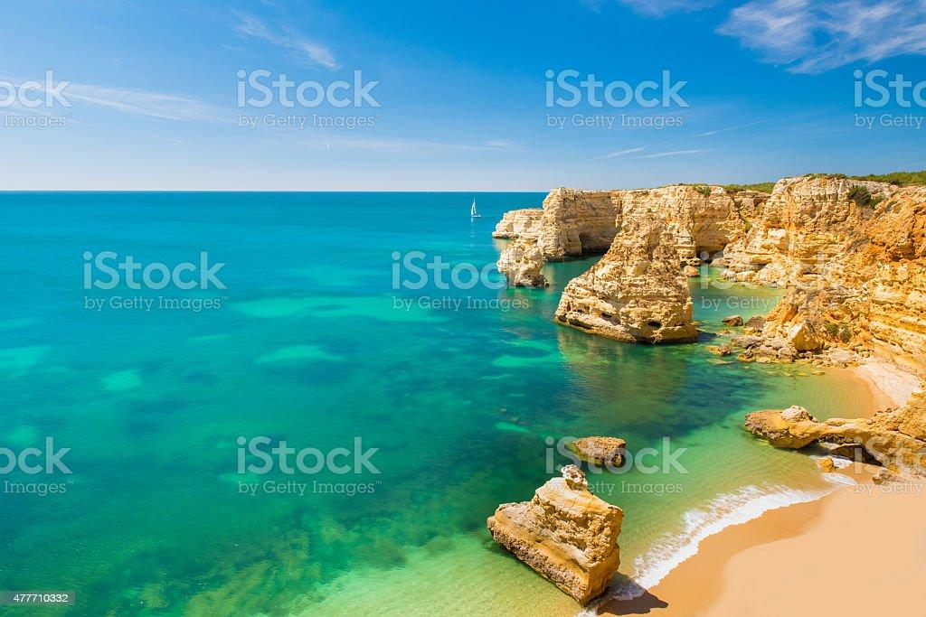 Praia da Marinha - Beautiful Beach Marinha in Algarve, Portugal stock photo