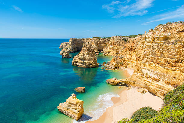 praia da marinha - beautiful beach marinha in algarve, portugal - portugal stock photos and pictures