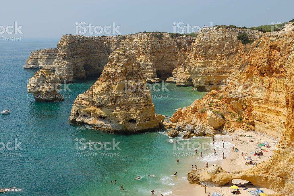 Praia da Marinha during the daytime stock photo
