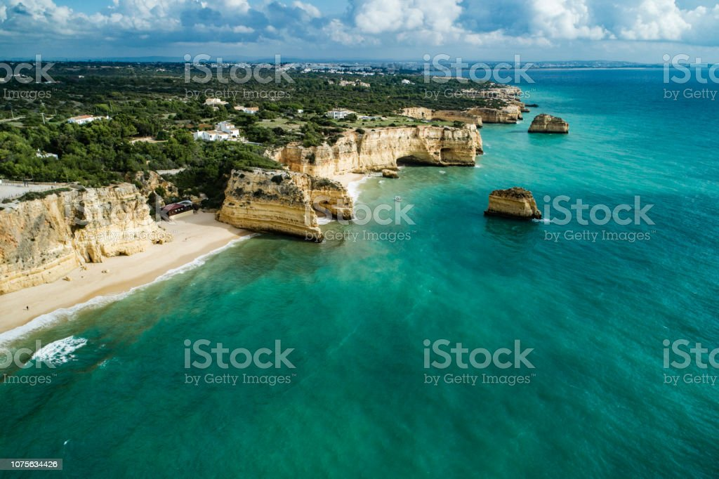 Praia da Marinha Lagoa Algarve Portugal is considered one of the most beautiful beaches in the world stock photo