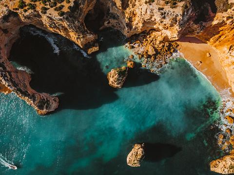 Praia da Mesquita - amazing drone shot of the beautiful Algarve, Portugal