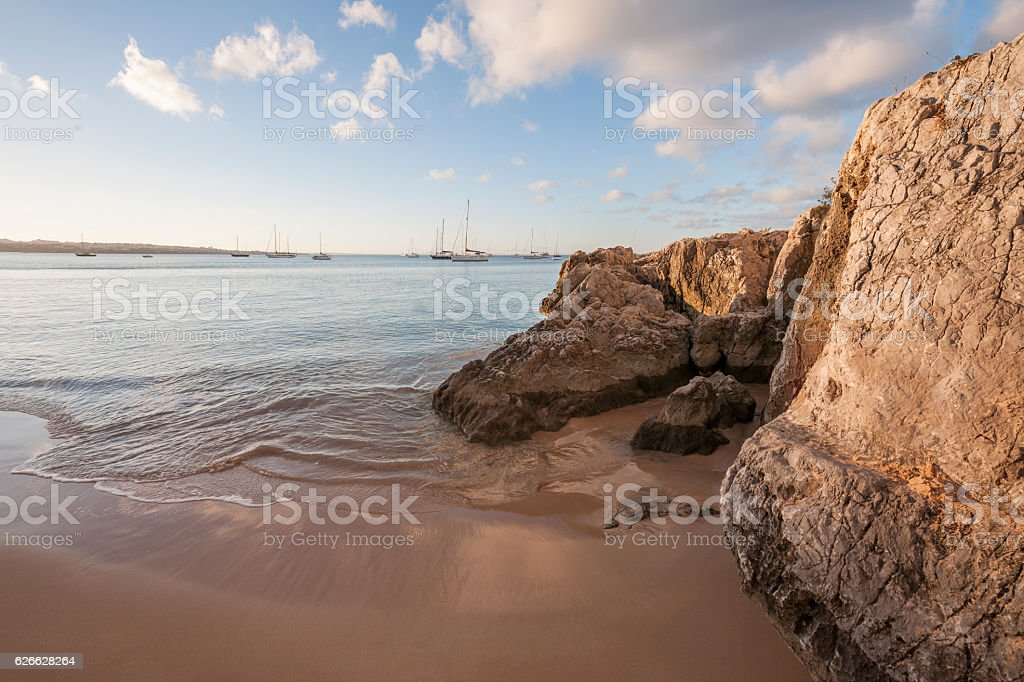 Praia da Rainha and Cascais Bayin golden morning light stock photo