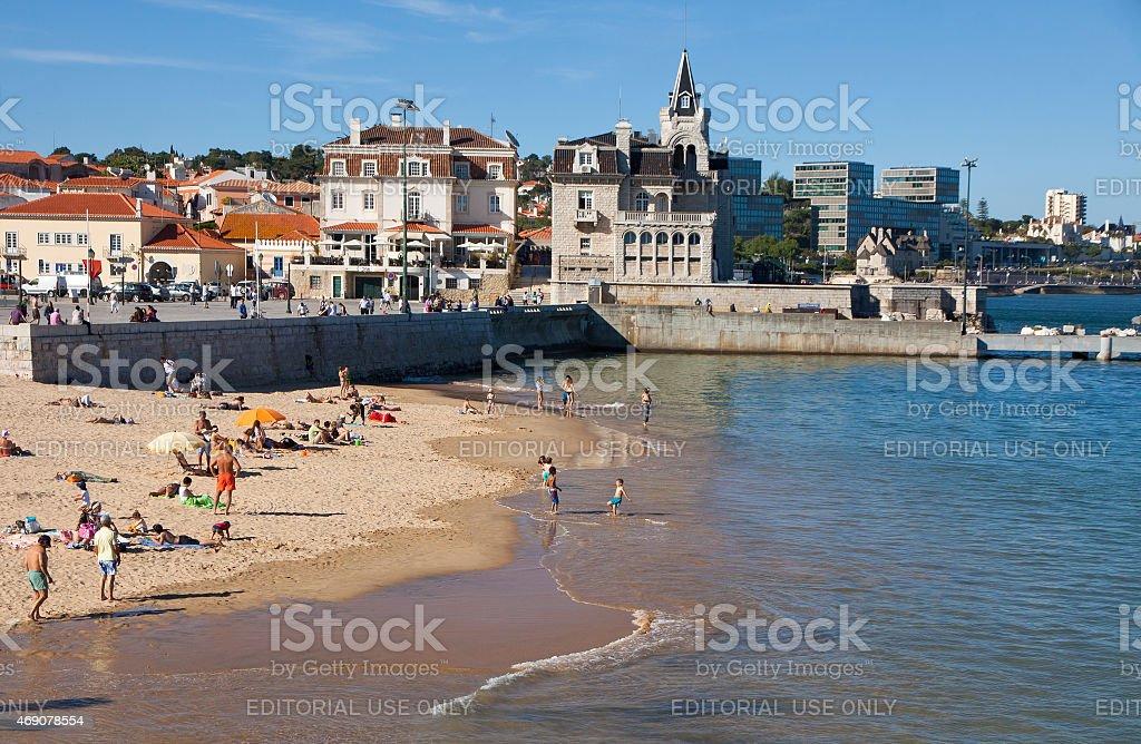 Praia da Rainha in Cascais, Portugal stock photo