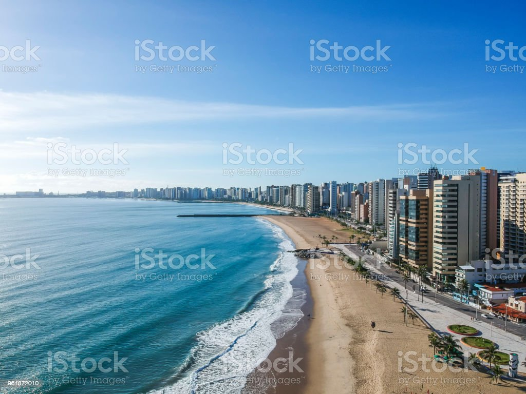 Praia de Iracema Beach from above, Fortaleza, Ceara State, Brazil. stock photo