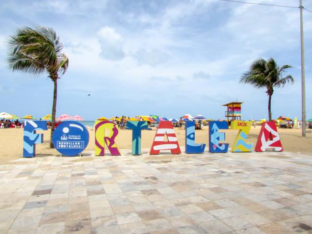 Praia de Iracema Beach in Fortaleza, northeastern Brazil stock photo