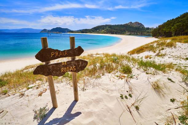 Praia de Rodas beach sign in islas Cies island Vigo stock photo