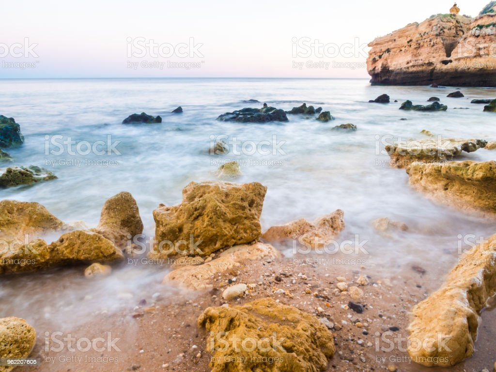 Praia de Sao Rafael (Sao Rafael beach) in Algarve, Portugal. stock photo