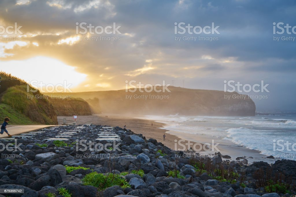 Praia Grande with people stock photo