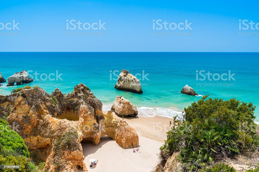 Praia tres irmaos - Beautiful coast of Algarve - Portugal stock photo