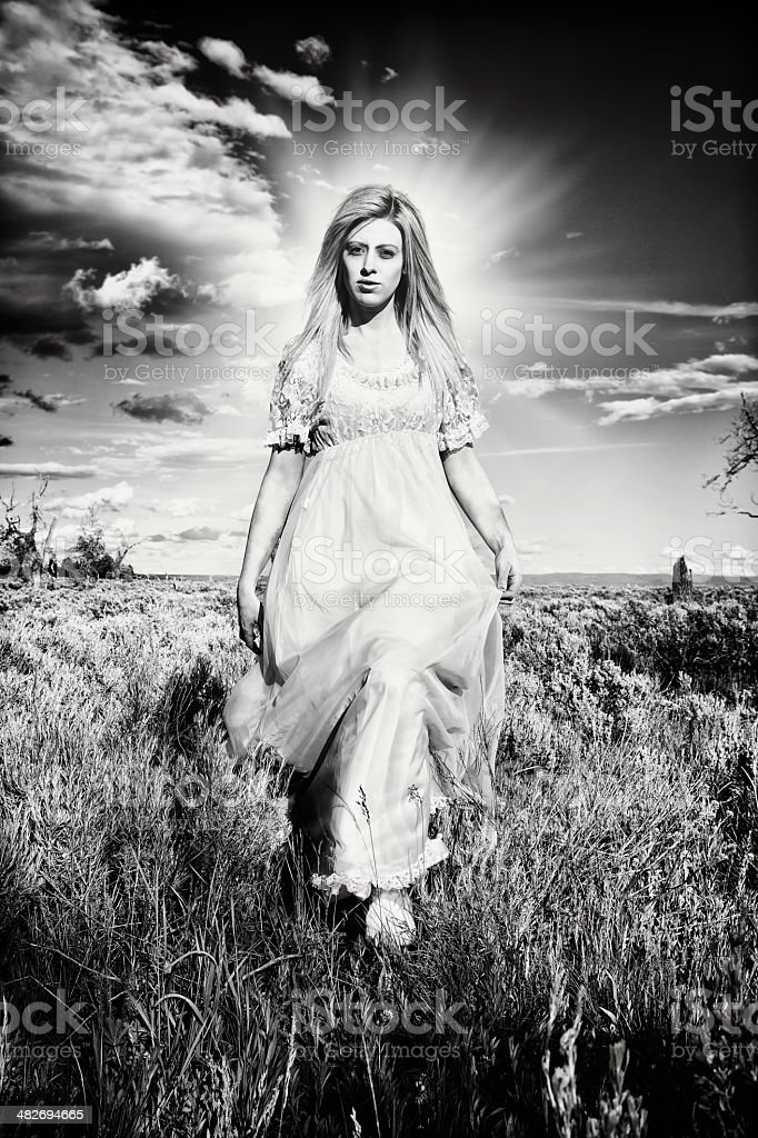 Prairie Angel black and white high contrast with halo stock photo