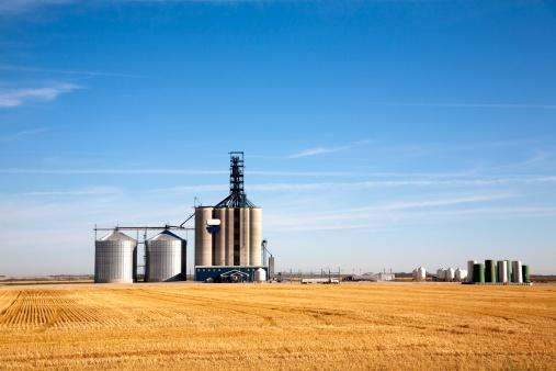 Prairie elevator and grain bin in the morning,Saskatchewan,Canada.