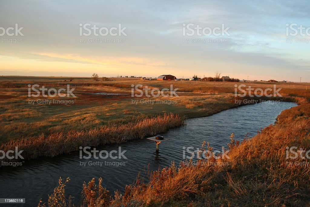 prairie farm with creek and goose platform at dusk stock photo